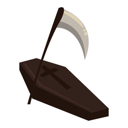 halloween wooden coffin with scythe vector illustration design