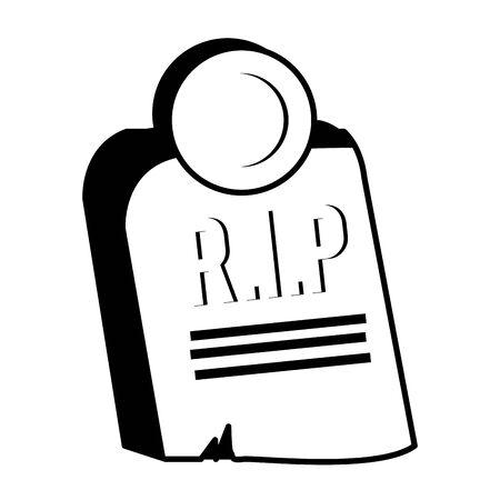 halloween cemetery graveyard isolated icon vector illustration design Vector Illustratie