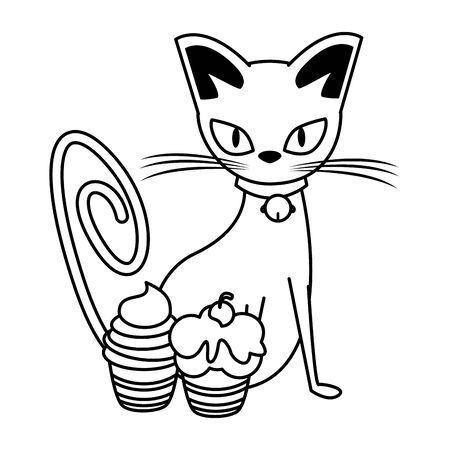 halloween sweet cupcake with cat vector illustration design
