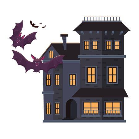 halloween dark haunted mansion building with bats vector illustration design