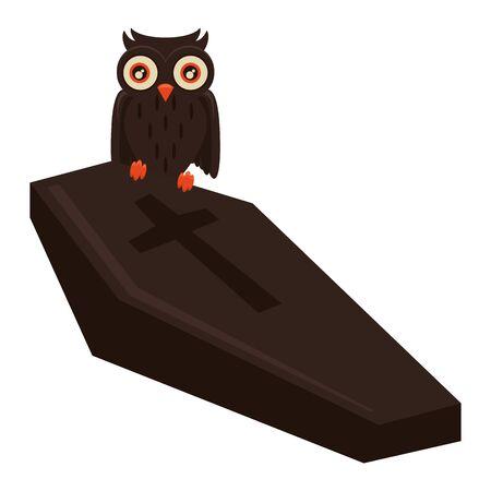halloween wooden coffin with owl bird vector illustration design