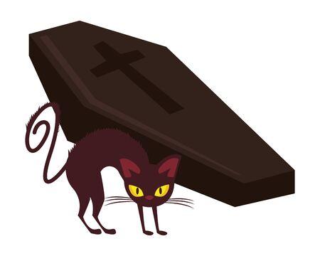 halloween wooden coffin with cat vector illustration design