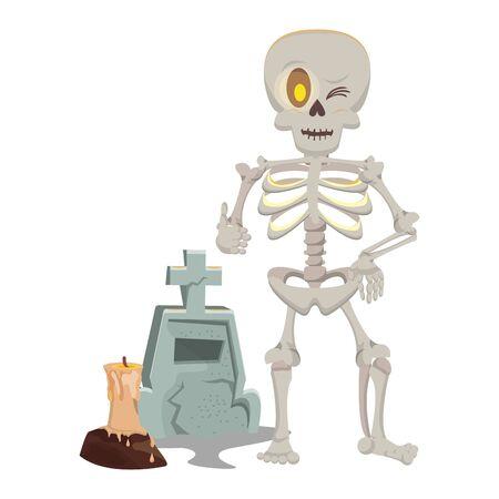 halloween cemetery graveyard with skeleton vector illustration design Vector Illustratie