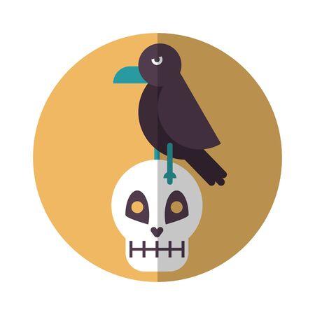 halloween skull head with crow vector illustration design