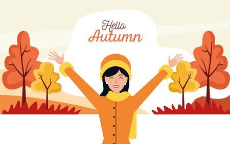 hello autumn season scene with happy girl vector illustration design Stock Illustratie