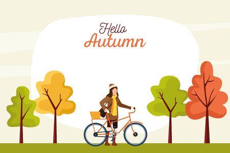 hello autumn season scene with girl in bicycle vector illustration design Stock Illustratie