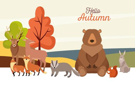 hello autumn season scene with group animals vector illustration design