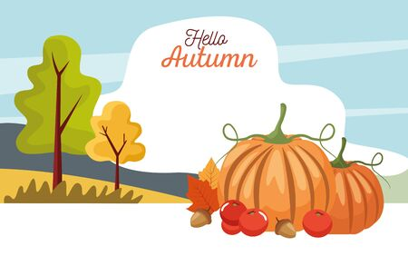 hello autumn season scene with pumpkins in landscape vector illustration design Stock Illustratie