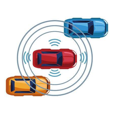 cars transport sedan vehicles with sensing system wireless connection technology cartoon vector illustration graphic design