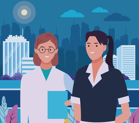 Professionals workers maid and doctor smiling cartoons in the city urban scenery at night ,vector illustration graphic design.