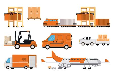 transportation merchandise logistic cargo vehicles set making delivery and traveling by distribution route cartoon vector illustration graphic design Vektorové ilustrace