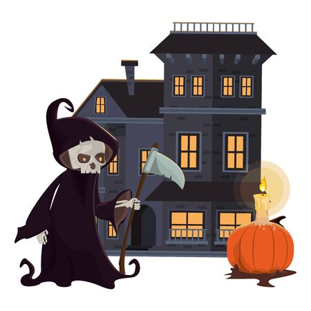 halloween dark haunted mansion with death costume vector illustration design