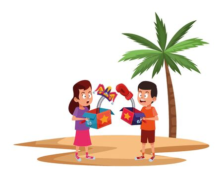 two young little kids surprised girl joke box jester hat surprised girl glove witha palm background avatar carton character vector illustration graphic design.