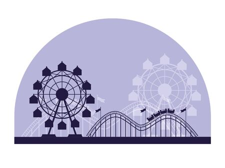 Circus festival fair scenery with attraction in blue silhouettes vector illustration graphic design