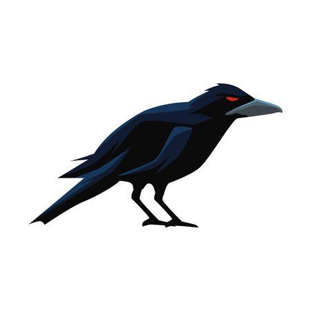 halloween dark crow bird icon vector illustration design