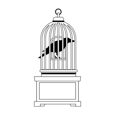 halloween dark crow bird with cage vector illustration design Vectores