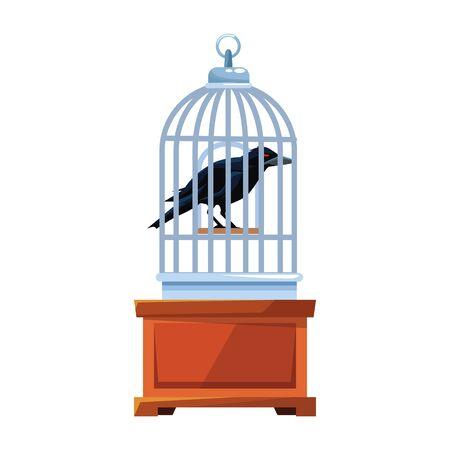 halloween dark crow bird with cage vector illustration design