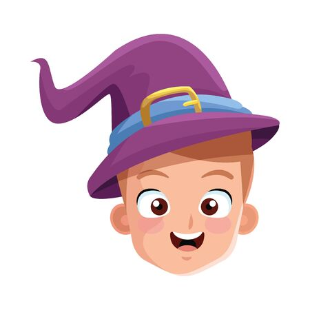 little boy with magician costume head character vector illustration design