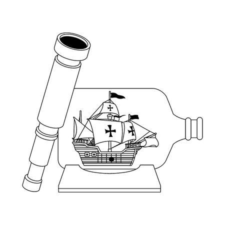 Navire caravelle antique dans la conception d'illustration vectorielle bouteille