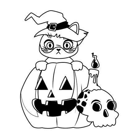 halloween pumpkin with little cat vector illustration design Ilustración de vector