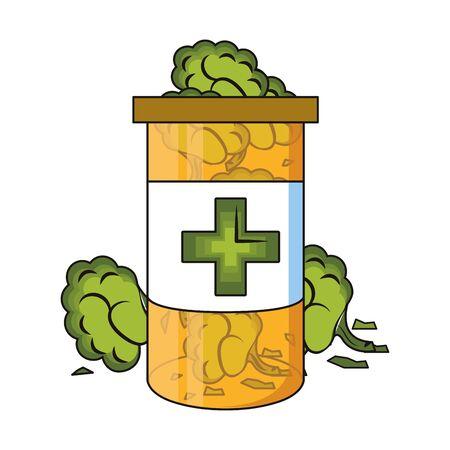 Cannabis Martihuana medizinische Marihuana Medizin Sativa Hanfknospen Flasche Cartoon Vektor Illustration Grafikdesign