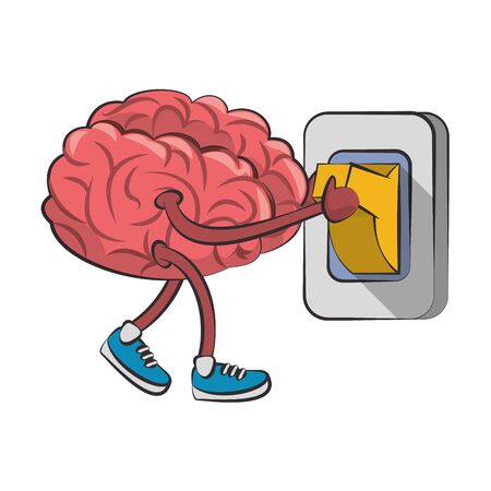Brain with shoes switching light cartoon vector illustration graphic design Vettoriali