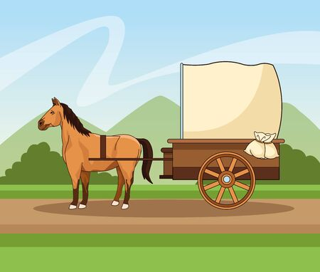 Horse with antique carriage vehicle on path landscape background ,vector illustration graphic design.