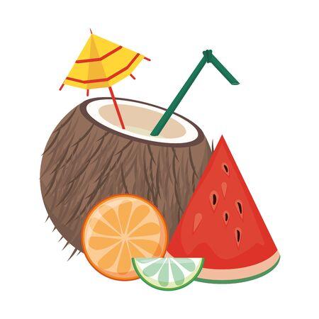 Summe coconut cocktail with watermelon orange and lemon vector illustration graphic design