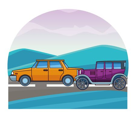 Vintage and classic cars antique vehicles riding on highway landscape background vector illustration graphic design.