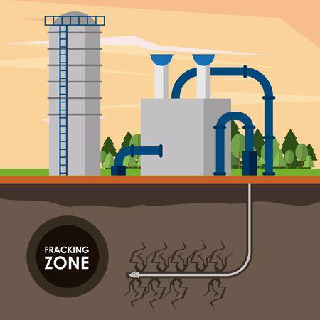 Zona fracking, pompa olio con serbatoio estrazione petrolio dal sottoolio con tubi. disegno grafico di illustrazione vettoriale Vettoriali