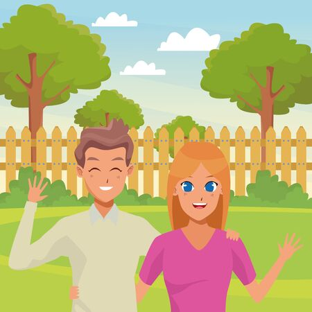 Young executive man and woman couple smiling and greeting cartoon in the garden scenery background ,vector illustration graphic design. Illustration