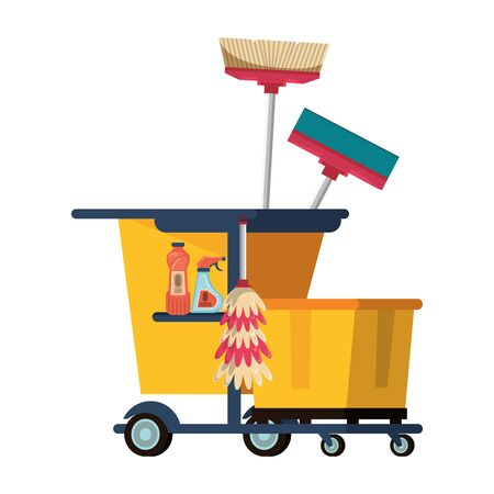 Cleaning equipment and products in cart with mop and broom vector illustration graphic design. Иллюстрация