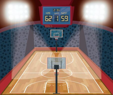 Basketball court and stadium with fans and lights scenery vector illustration graphic design
