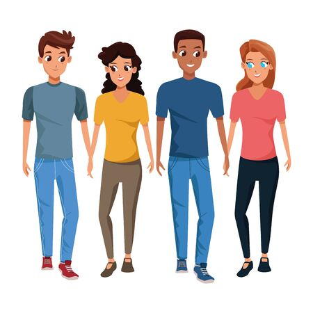 Young friends couple smiling with casual clothes cartoons isolated vector illustration graphic design Illustration