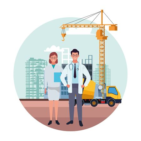 labor day employment occupation national celebration,doctors colleagues workers in front city construction view cartoon vector illustration graphic design