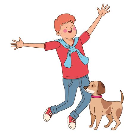 Teenager jumping and walking the dog isolated,vector illustration graphic design. Foto de archivo - 130427932