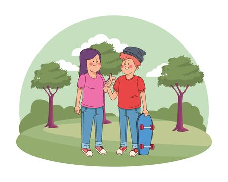 Teenagers friends greeting with cool hand sign and holding skateboard in the nature park with trees, landscape scenery ,vector illustration graphic design.  イラスト・ベクター素材