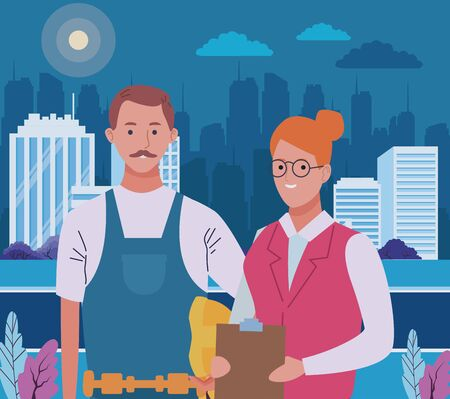 Professionals workers construction and secretary smiling cartoons in the city urban scenery at night ,vector illustration graphic design. Çizim