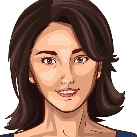Pop art beautiful woman face with short hair cartoon isolated, vector illustration graphic design.