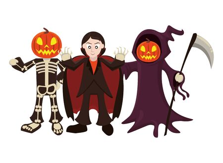 persons with costumes of characters vector illustration design