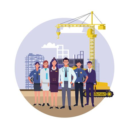 labor day employment occupation national celebration, professionals workers in front city construction view cartoon vector illustration graphic design