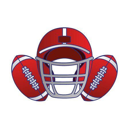 american football sport game helmet with balls cartoon vector illustration graphic design