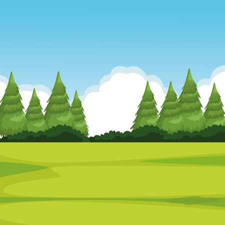 forest landscape with pine icon cartoon