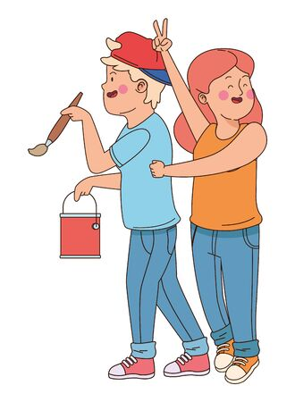 teenager friends with paint bucket and brush isolated,vector illustration graphic design.