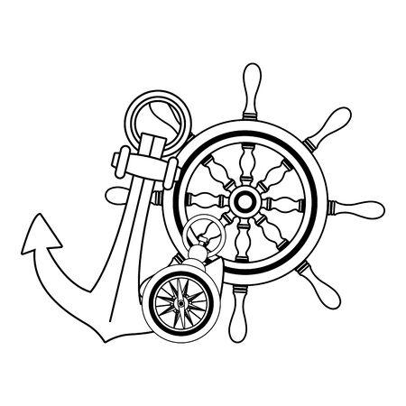 marine navigation helm with anchor vector illustration design  イラスト・ベクター素材
