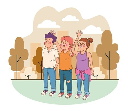 Teenagers friends smiling and greeting with cool clothes and accesories in the city, urban scenery ,vector illustration.