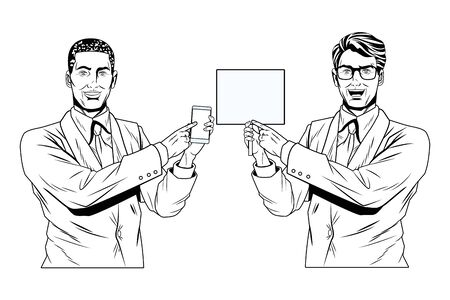 Pop art businessmen presentation holding smartphone showing blank sign black and white vector illustration graphic design