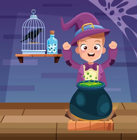 halloween dark scene with kid magician disguise vector illustration design