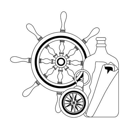 marine navigation helm with compass vector illustration design