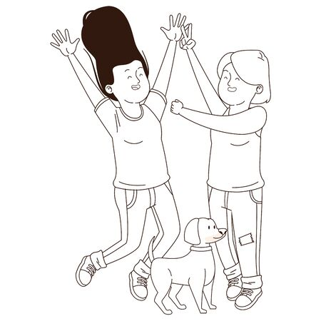 Teenagers friends girls walking the dog ,vector illustration graphic design.